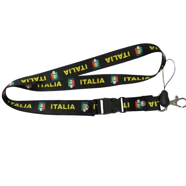 """ITALIA BLACK BACKGROUND FIGC LOGO FIFA SOCCER WORLD CUP LANYARD KEYCHAIN PASSHOLDER NECKSTRAP .. CLASP AT THE END .. 24"""" INCHES LONG .. HIGH QUALITY .. NEW AND IN A PACKAGE"""