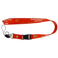 """MANCHESTER UNITED LOGO SOCCER LANYARD KEYCHAIN PASSHOLDER NECKSTRAP .. CLASP AT THE END .. 24"""" INCHES LONG .. HIGH QUALITY .. NEW AND IN A PACKAGE"""