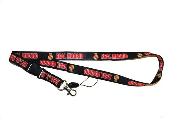"REAL MADRID LOGO SOCCER LANYARD KEYCHAIN PASSHOLDER NECKSTRAP .. CLASP AT THE END .. 24"" INCHES LONG .. HIGH QUALITY .. NEW AND IN A PACKAGE"