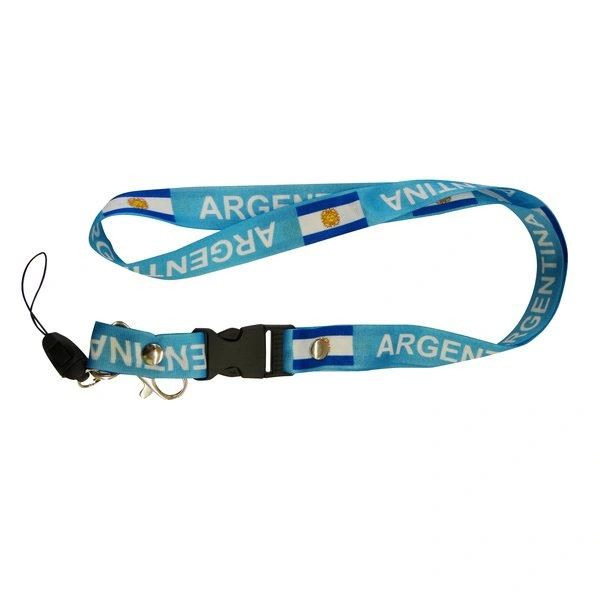 """ARGENTINA BLUE BACKGROUND COUNTRY FLAG LANYARD KEYCHAIN PASSHOLDER NECKSTRAP .. CLASP AT THE END .. 24"""" INCHES LONG .. HIGH QUALITY .. NEW AND IN A PACKAGE"""