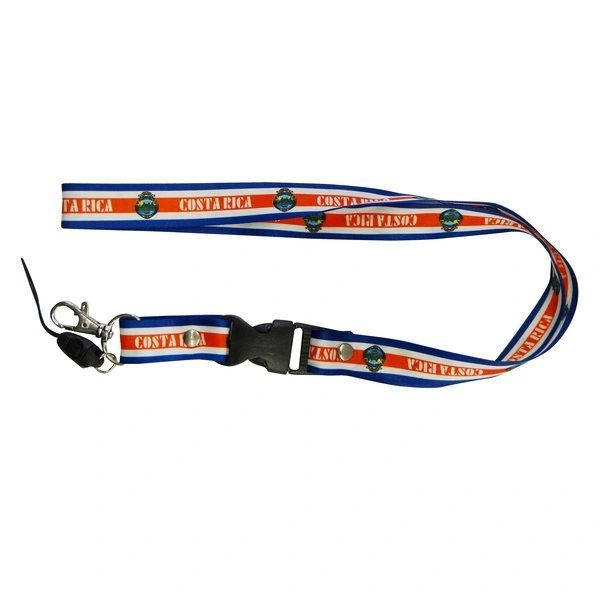 "COSTA RICA COUNTRY FLAG LANYARD KEYCHAIN PASSHOLDER NECKSTRAP .. CLASP AT THE END .. 24"" INCHES LONG .. HIGH QUALITY .. NEW AND IN A PACKAGE"