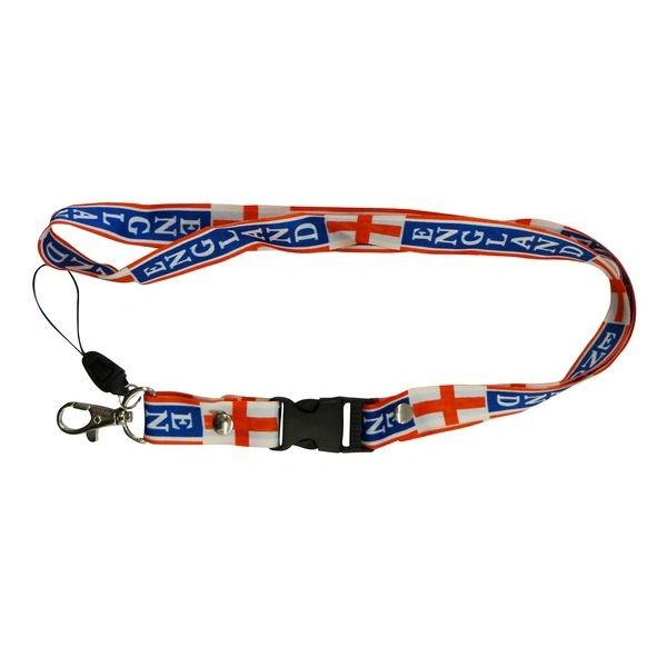 "ENGLAND COUNTRY FLAG LANYARD KEYCHAIN PASSHOLDER NECKSTRAP .. CLASP AT THE END .. 24"" INCHES LONG .. HIGH QUALITY .. NEW AND IN A PACKAGE"