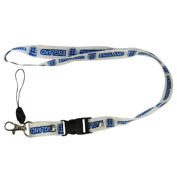 "ENGLAND 3 LIONS LANYARD KEYCHAIN PASSHOLDER NECKSTRAP .. CLASP AT THE END .. 24"" INCHES LONG .. HIGH QUALITY .. NEW AND IN A PACKAGE"