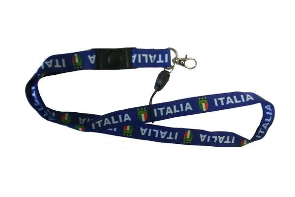 "ITALIA ITALY BLUE COUNTRY FLAG LANYARD KEYCHAIN PASSHOLDER NECKSTRAP .. CLASP AT THE END .. 24"" INCHES LONG .. HIGH QUALITY .. NEW AND IN A PACKAGE"