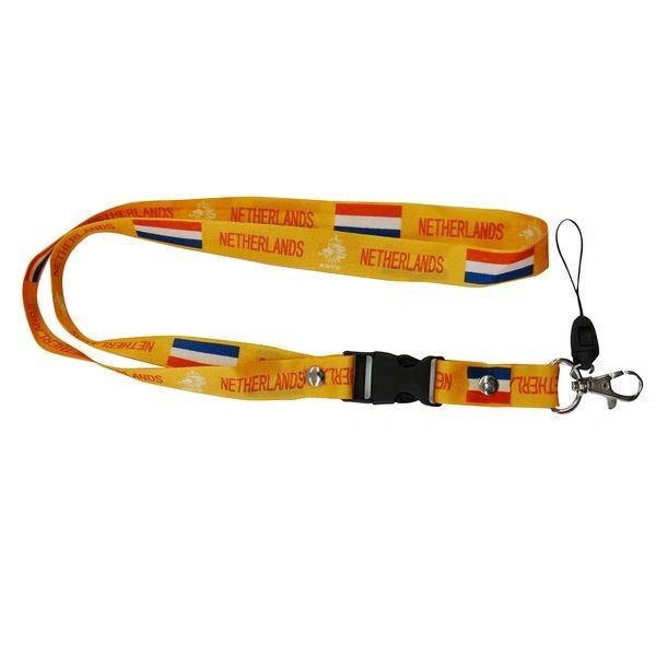 "NETHERLANDS YELLOW BACKGROUND COUNTRY FLAG LANYARD KEYCHAIN PASSHOLDER NECKSTRAP .. CLASP AT THE END .. 24"" INCHES LONG .. HIGH QUALITY .. NEW AND IN A PACKAGE"