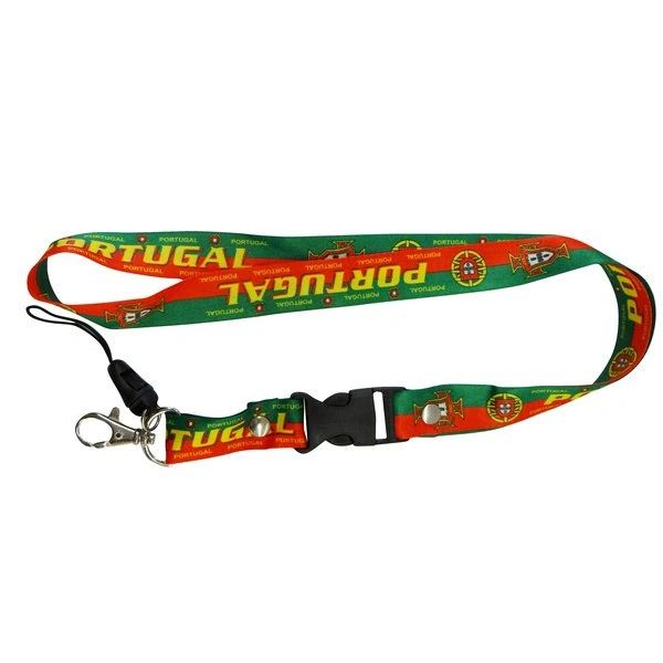 "PORTUGAL COUNTRY FLAG LANYARD KEYCHAIN PASSHOLDER NECKSTRAP .. CLASP AT THE END .. 24"" INCHES LONG .. HIGH QUALITY .. NEW AND IN A PACKAGE"