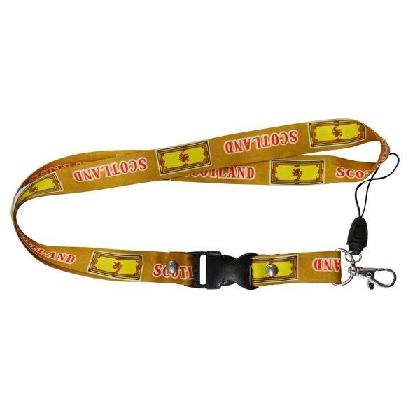 """SCOTLAND RAMPANT LION COUNTRY FLAG LANYARD KEYCHAIN PASSHOLDER NECKSTRAP .. CLASP AT THE END .. 24"""" INCHES LONG .. HIGH QUALITY .. NEW AND IN A PACKAGE"""