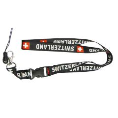 "SWITZERLAND BLACK BACKGROUND COUNTRY FLAG LANYARD KEYCHAIN PASSHOLDER NECKSTRAP .. CLASP AT THE END .. 24"" INCHES LONG .. HIGH QUALITY .. NEW AND IN A PACKAGE"