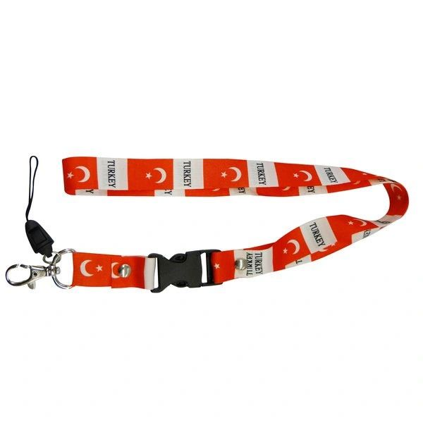 """TURKEY COUNTRY FLAG LANYARD KEYCHAIN PASSHOLDER NECKSTRAP .. CLASP AT THE END .. 24"""" INCHES LONG .. HIGH QUALITY .. NEW AND IN A PACKAGE"""