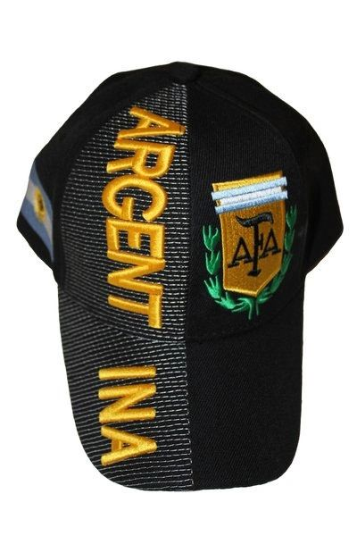 ARGENTINA BLACK COUNTRY FLAG AFA LOGO FIFA SOCCER WORLD CUP EMBOSSED HAT CAP .. NEW