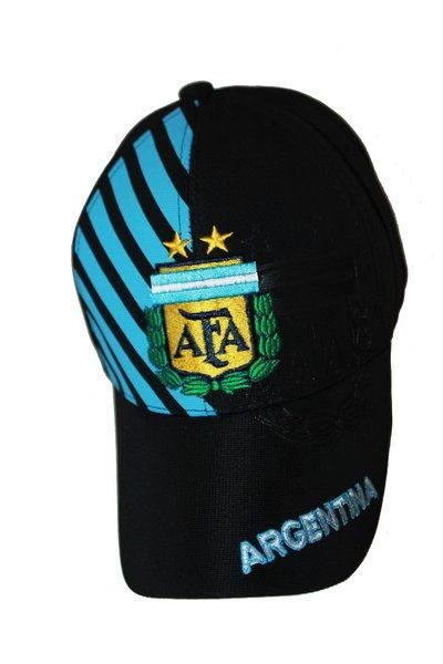 ARGENTINA BLACK WITH BLUE STRIPES AFA LOGO FIFA SOCCER WORLD CUP EMBOSSED HAT CAP .. NEW