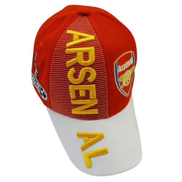 ARSENAL RED WHITE WITH LOGO SOCCER EMBOSSED HAT CAP .. NEW
