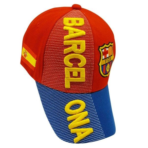 BARCELONA RED BLUE FCB LOGO FIFA SOCCER WORLD CUP EMBOSSED HAT CAP .. NEW