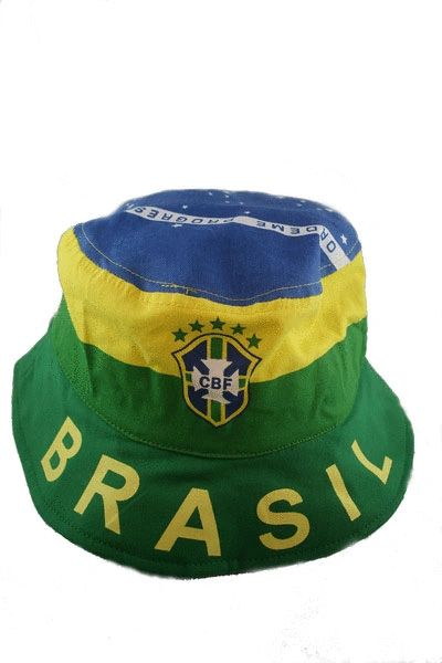 BRASIL 5 STARS CBF LOGO FIFA SOCCER WORLD CUP BUCKET HAT CAP .. NEW