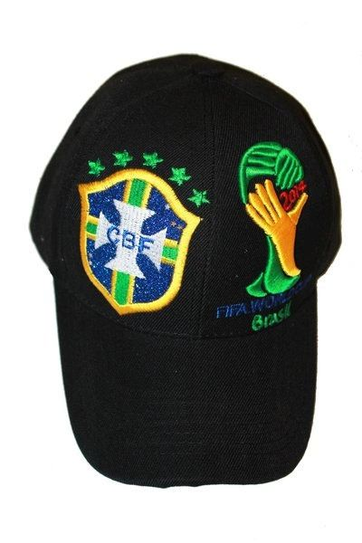 BRASIL BLACK 5 STARS CBF LOGO FIFA SOCCER WORLD CUP EMBOSSED HAT CAP.. NEW