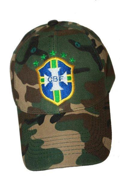 BRASIL CAMOUFLAGE 5 STARS CBF LOGO FIFA SOCCER WORLD CUP HAT CAP. . NEW