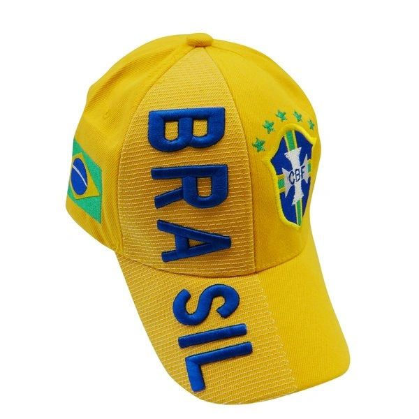 BRASIL YELLOW COUNTRY FLAG 5 STARS CBF LOGO FIFA SOCCER WORLD CUP EMBOSSED HAT CAP .. NEW