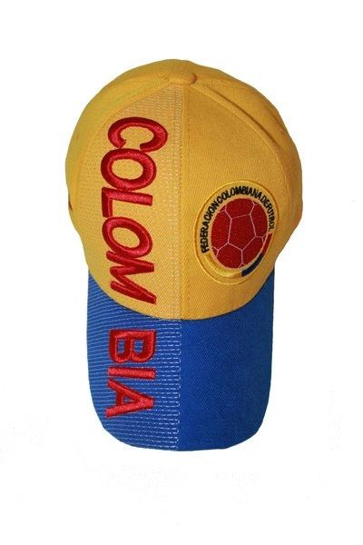 COLOMBIA YELLOW BLUE FIFA SOCCER WORLD CUP EMBOSSED HAT CAP .. NEW