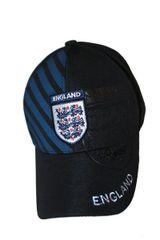 ENGLAND 3 LIONS BLACK BLUE STRIPES FIFA SOCCER WORLD CUP FLEXFIT HAT CAP .. NEW