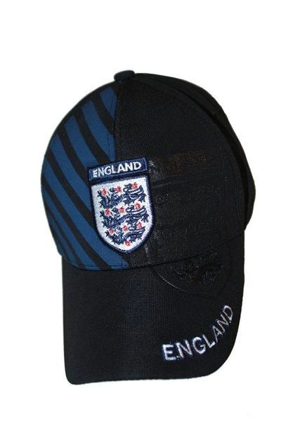 ENGLAND 3 LIONS BLACK BLUE STRIPES FIFA SOCCER WORLD CUP FLEXFIT HAT CAP .. NEW
