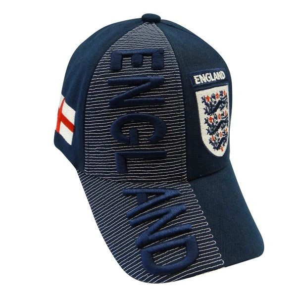 ENGLAND 3 LIONS COUNTRY FLAG BLUE FIFA SOCCER WORLD CUP EMBOSSED HAT CAP.. NEW