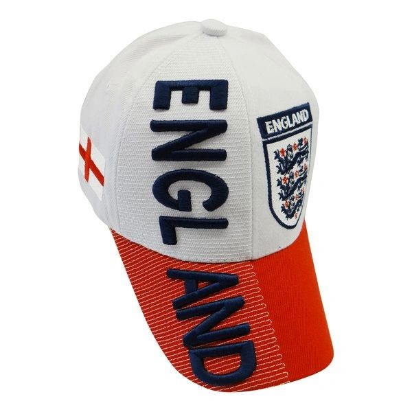 ENGLAND 3 LIONS RED WHITE COUNTRY FLAG FIFA SOCCER WORLD CUP EMBOSSED HAT CAP .. NEW