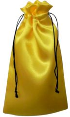 Satin Drawstring Bags in Yellow with Black Cord Closure, 9cm x 18cm, FREE UK POSTAGE orders over £5.00
