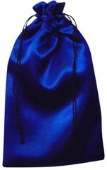 Satin Drawstring Bags in Royal Blue with Black Cord Closure, 20cm x 24cm, FREE UK POSTAGE orders over £5.00