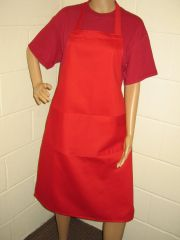 Plain Traditional Style Aprons in Adult Red all have pockets, Choice of colour, Adults all '1 size', FREE UK POST on orders over £5.00