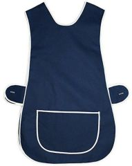 Tabards in 65%polyester/35% Cotton, Plain Navy Blue Size 16-18/OS WITH WHITE TRIM, large pocket, side adjustment, choice of colour and size, FREE UK POST AND PACKING, Only £5.99 each,