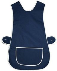 Tabards in 65%polyester/35% Cotton, Plain Navy Blue WITH WHITE TRIM, large pocket, side adjustment, choice of colour and size, FREE UK POST AND PACKING, Only £5.99 each,