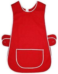 Tabards in 65%polyester/35% Cotton, 8-10/WMS Plain Red WITH WHITE TRIM, large pocket, side adjustment, choice of colour and size, FREE UK POST AND PACKING, Only £5.99 each,