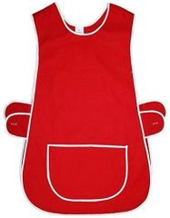 Tabards in 65%polyester/35% Cotton, 16-18/OS Plain Red WITH WHITE TRIM, large pocket, side adjustment, choice of colour and size, FREE UK POST AND PACKING, Only £5.99 each,