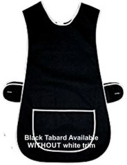 Tabards in 65%polyester/35% Cotton, 16-18/OS Plain Black WITH WHITE TRIM, large pocket, side adjustment, choice of colour and size, FREE UK POST AND PACKING, Only £5.99 each,
