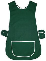 Tabards in 65%polyester/35% Cotton, Size 12-14/WX Plain Bottle Green WITH WHITE TRIM, large pocket, side adjustment, choice of colour and size, FREE UK POST AND PACKING, Only £5.99 each,