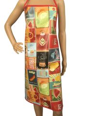 Adult ''Favourites'' design. 'Easy Wipe Clean' pvc aprons, full size traditional bib aprons, FREE UK POST AND PACKING