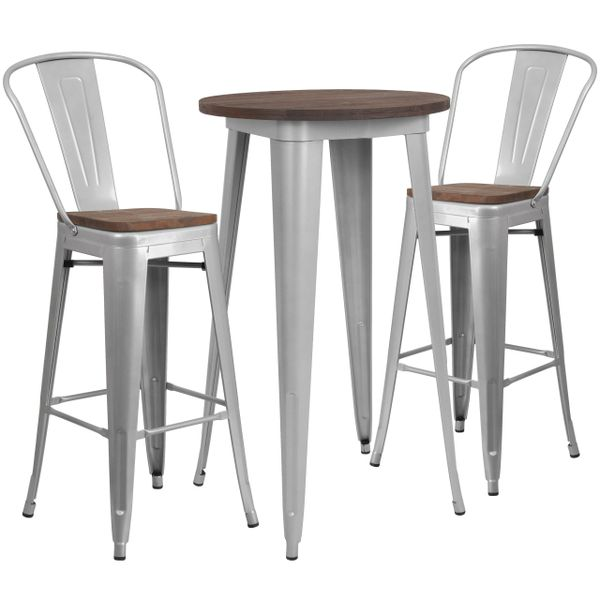 Flash Furniture 24 Quot Round Silver Metal Bar Table Set With