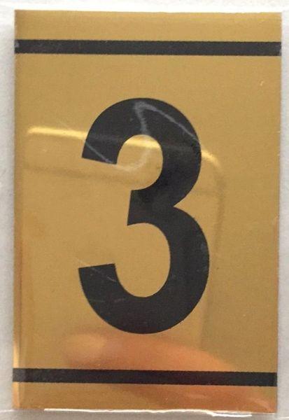 Number Three Sign 3 Sign Gold Aluminum 2 25x1 5