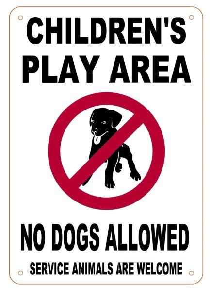 Children S Play Area No Dogs Allowed Sign Aluminum Sign
