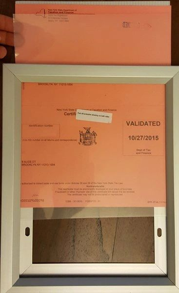 What Is Nyc Sales Tax >> Sales Tax Certificate Aluminium Frame 8 5 X 11 Heavy Duty