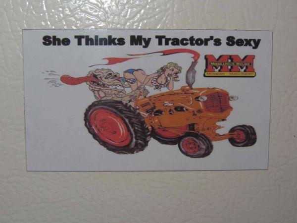 "MINNEAPOLIS MOLINE ""SHE THINKS MY TRACTORS SEXY (IMAGE #1) Fridge/toolbox magnet"