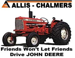 "ALLIS CHALMERS ""FRIENDS WON'T LET FRIENDS DRIVE JD"" KEYCHAIN"
