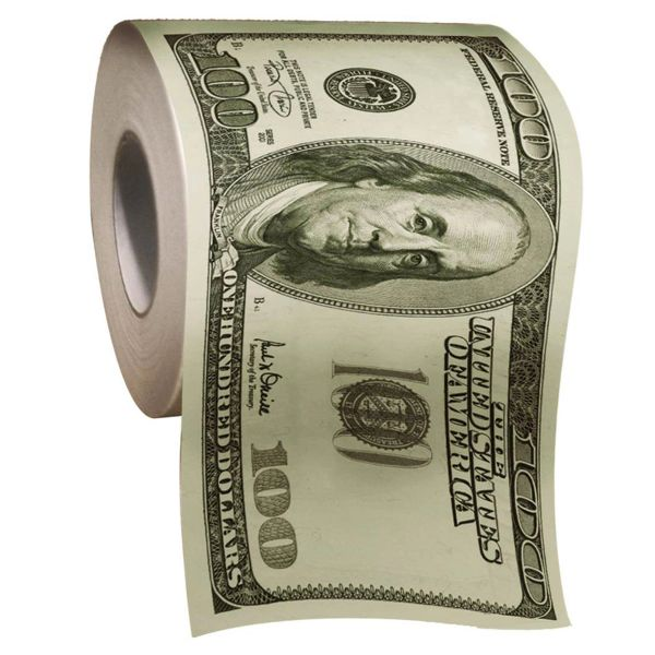 100 Dollar Bill Toilet roll