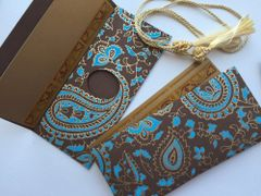 Blue and Brown Paisely Print Money Envelope - Gift Box