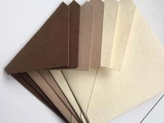 6 inch Square Envelopes, Euro Style for Social, Corporate use or for Wedding Invitation - Buff, Sand OR Cream OR Chocolate colored cotton envelope pack