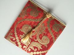 Indian Wedding Invitation Pocket Fold - Red and gold floral with tassel (pack of 12)