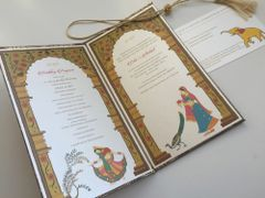 Indian Wedding Invitation & RSVP Card - 'The Palace of Love', Arches, Peacock, Trees, other motifs