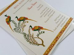 Bridal Shower Invitation flat A7 with Tri-Peacock Design - from Samvadiya Cards