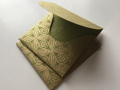 Square 3.75 inch Envelopes for Indian Wedding Invitation RSVP card - Olive Green and Gold leaf print (25 Pack)