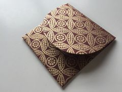 Square 3.75 inch envelopes for Indian Wedding Invitation RSVP card - Burgundy and Gold leaf print (25 Pack)